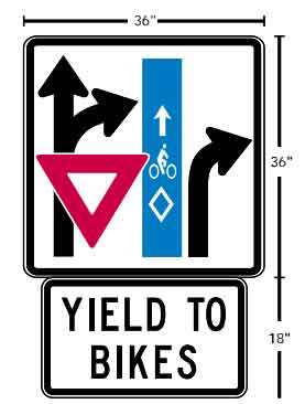 Sign which indicates car turning right through a bicycle lane and instructing the bicycle priority right of way for the car to yield to the bicycle this was a unique sign for Broadway and Williams.