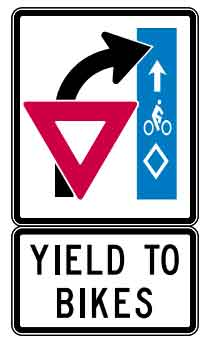 Sign which indicates car turning right through a bicycle lane and instructing the bicycle priority right of way for the car to yield to the bicycle in the bike lane.