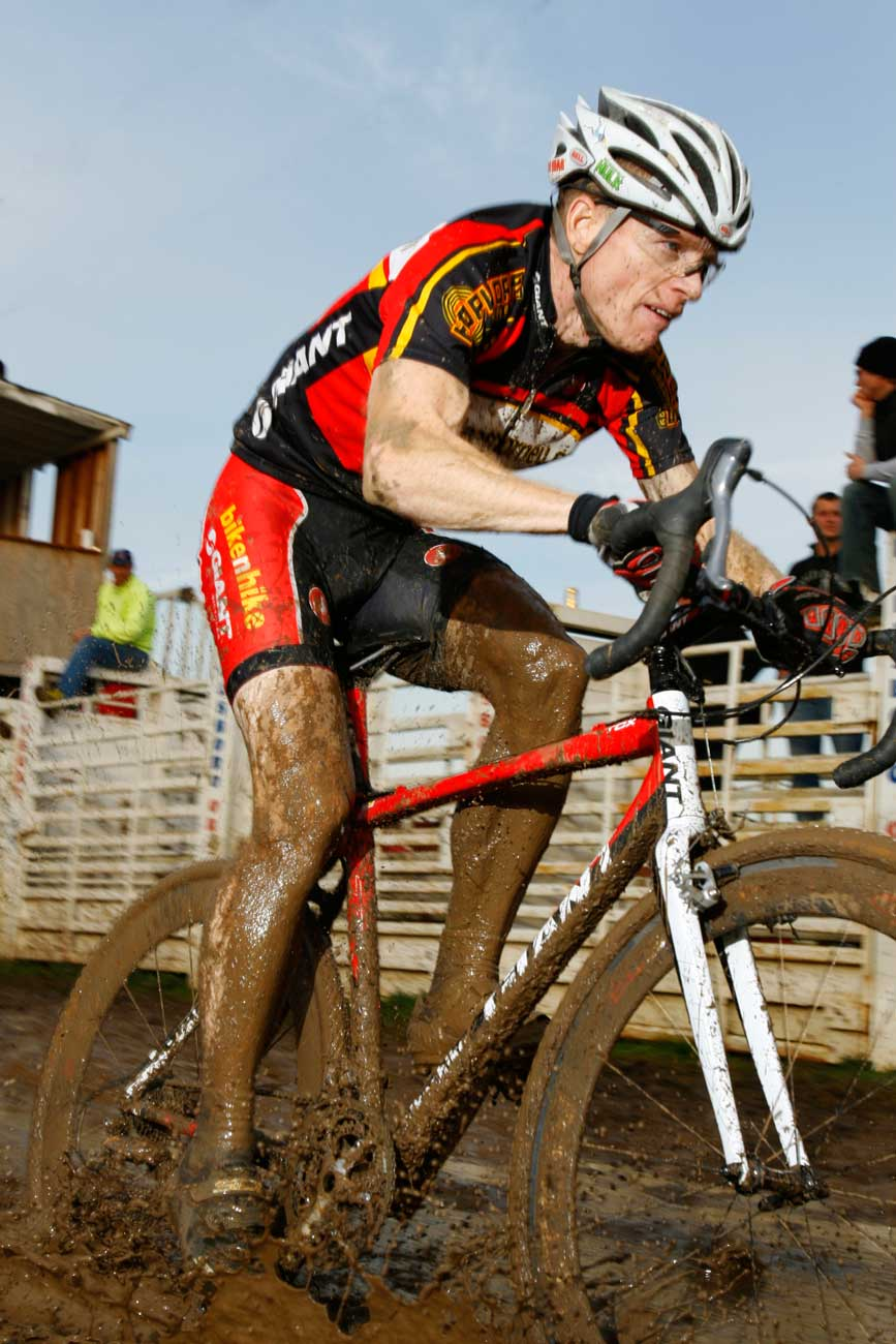 Bicycleattorney.com/racing team member Rich Cramer pictured slopping throught the mud on his way to a 6th place finish Master A, Cross Crusade #8, Washington Co. Fairgrounds 11/16/2008