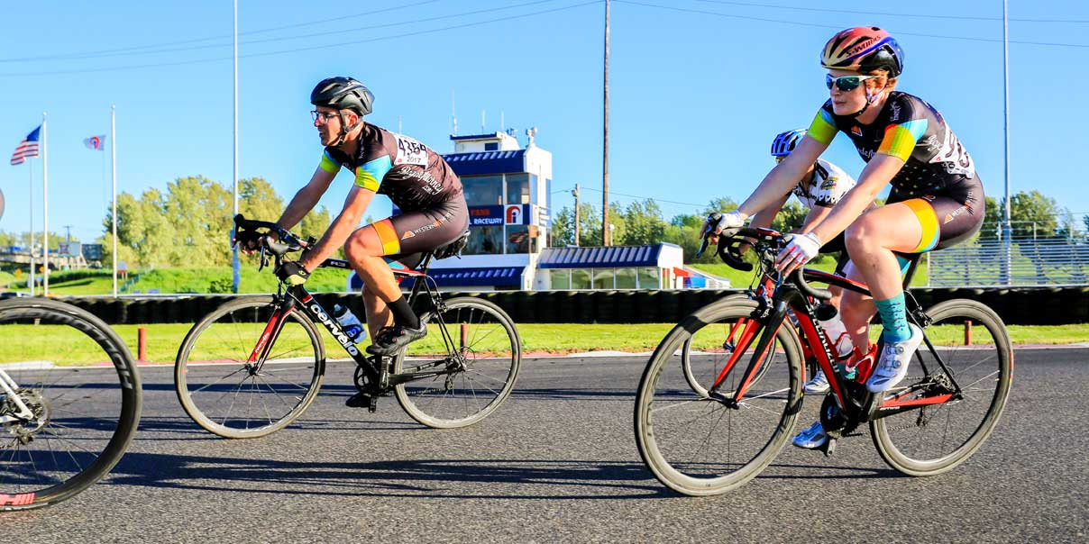 BicycleAttorney.com team racing at Tuesday PIR Portland International Raceway, fun series on a safe car free track