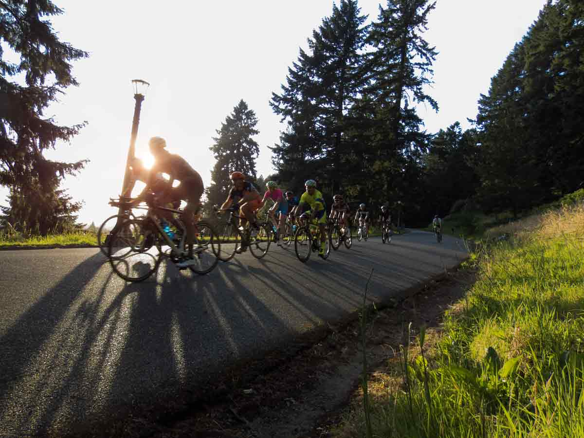 Velo on the Volcano - the Mt. Tabor Series has lots of steep uphills and downhills - great course for spectactors with trails to easily move between different parts of the course.
