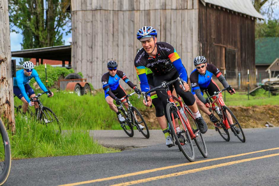 BicycleAttorney.com team rounding turn in Montimore Road Race, Oregon bicycle racing