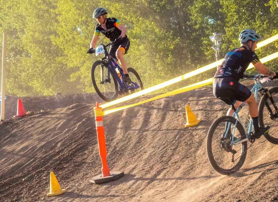 mountain bike racing on the motorcycle motorcross dirt track at Portland International Raceway