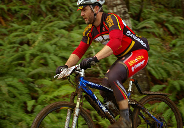 Bicycle Attorney cycling team representing in the muddy early spring forest roads and trails of Oregon's Pacific forest.
